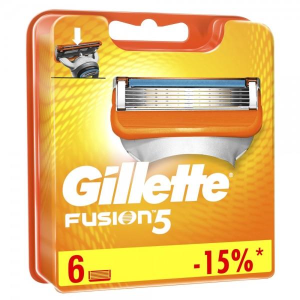 Годовой запас сменных кассет для бритья Gillette Fusion5, 6 шт+6штт
