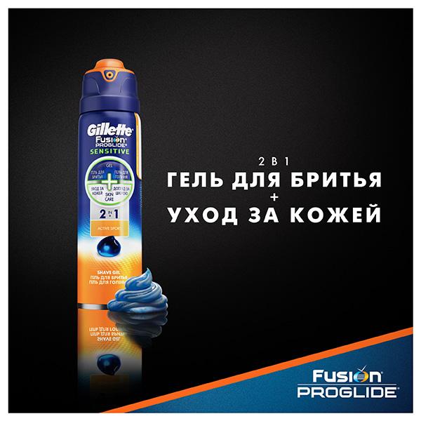Гель для бритья Gillette Fusion ProGlide Sensitive Active sport