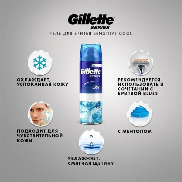 Гель для бритья Gillette Series Sensitive Cool, 200 мл