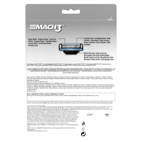 Сменные кассеты для бритья Gillette Mach3, 16 шт