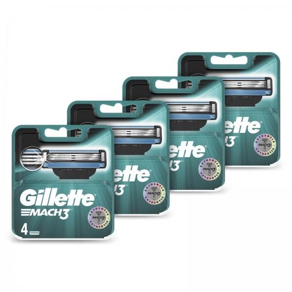 Годовой запас сменных кассет для бритья Gillette Mach3, 4+4+4+4 (16 шт)