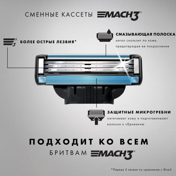 Годовой запас сменных кассет для бритья Gillette Mach3, 6+6 (12 шт)