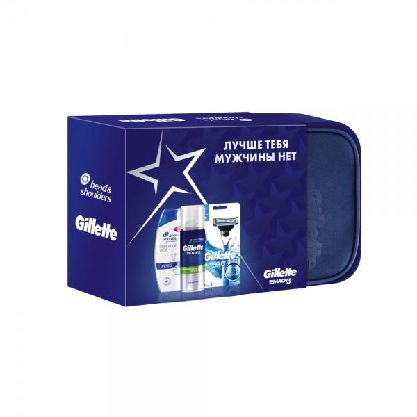 Подарочный набор Gillette Масh3 Start с пеной для бритья Gillette Series и шампунем Head&Shoulders в косметичке