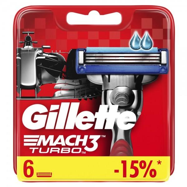 Годовой запас сменных кассет для бритья Gillette Mach3 Turbo, 6+6 (12 шт)