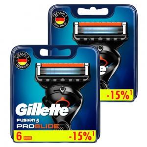 Годовой запас сменных кассет для бритья Gillette Fusion5 ProGlide, 6+6 (12 шт)
