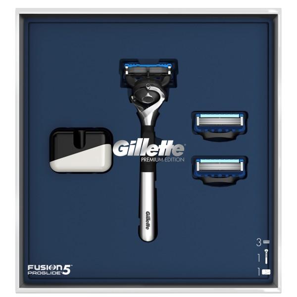 Подарочный набор Gillette Бритва Fusion5 ProGlide Хром + 2 Кассеты + Подставка