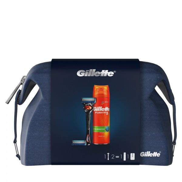 Подарочный набор Gillette Fusion5 ProGlide (бритва+1кас+гель+travel case)