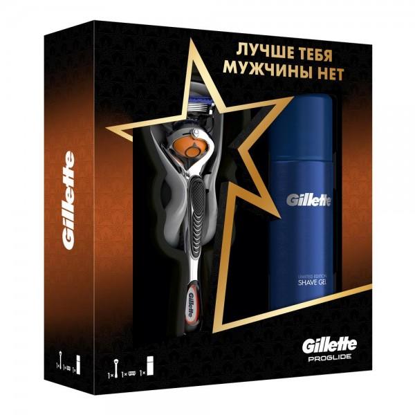 Подарочный набор Gillette Бритва Fusion5 Proglide + гель для бритья Gillette Fusion