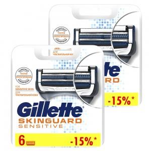 Годовой запас сменных кассет для бритья Gillette SkinGuard, 6+6 (12 шт)